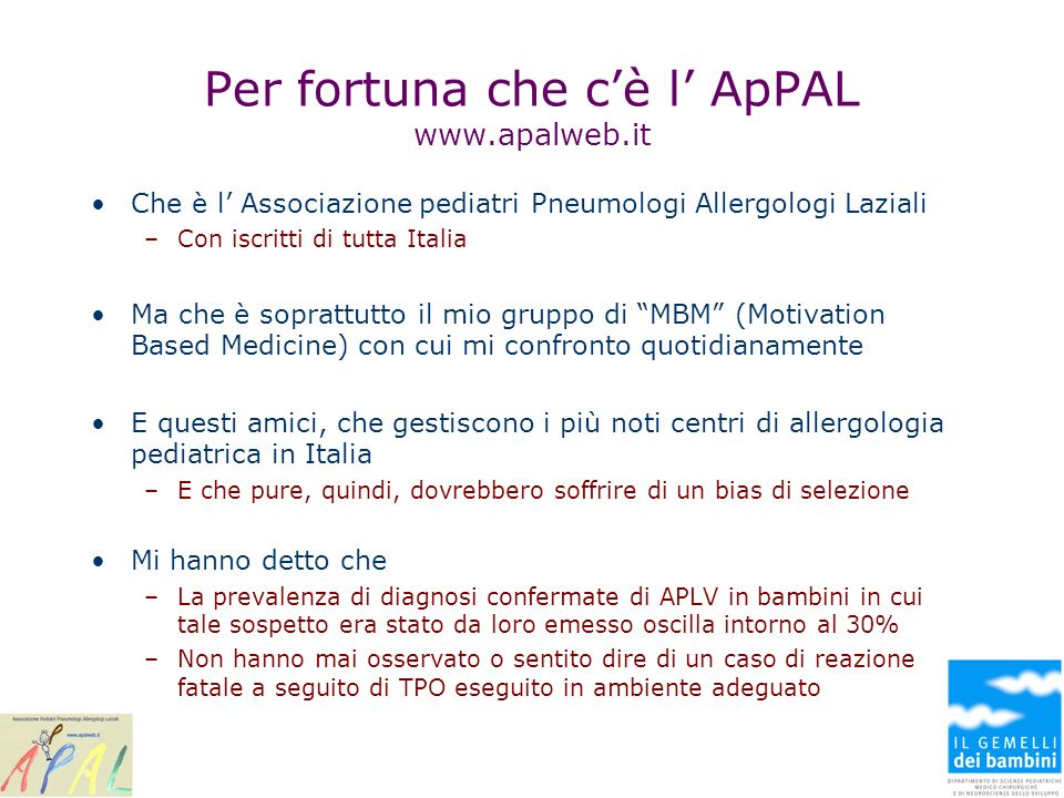Per fortuna che c'è l' ApPAL www.apalweb.it