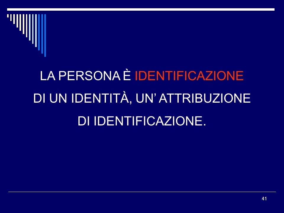 La persona è Identificazione di un identità, un' attribuzione