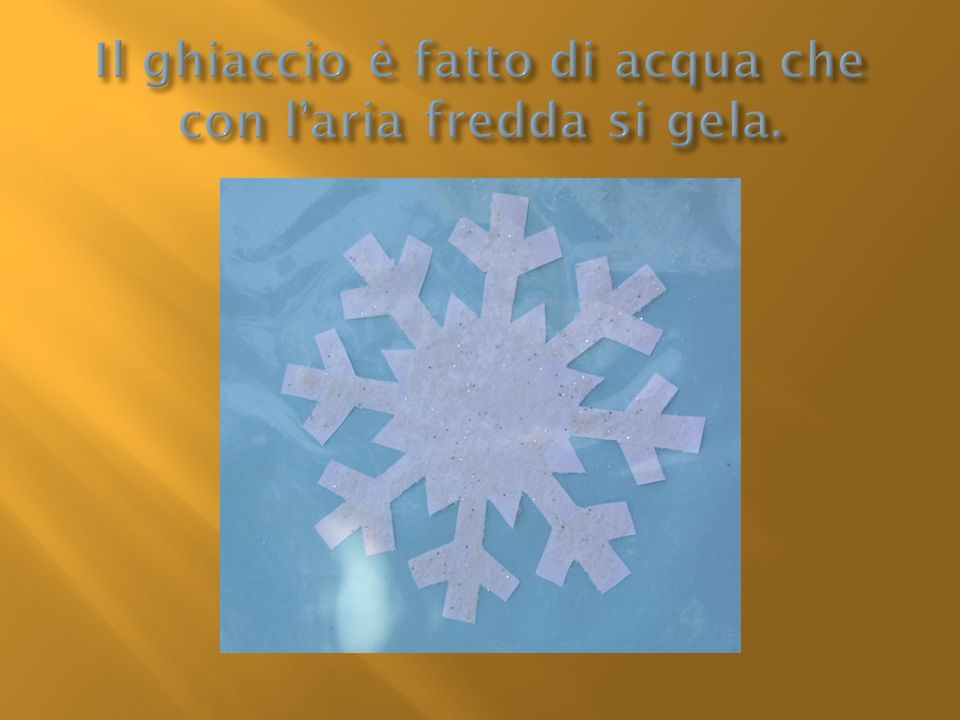 Il ghiaccio è fatto di acqua che con l'aria fredda si gela.
