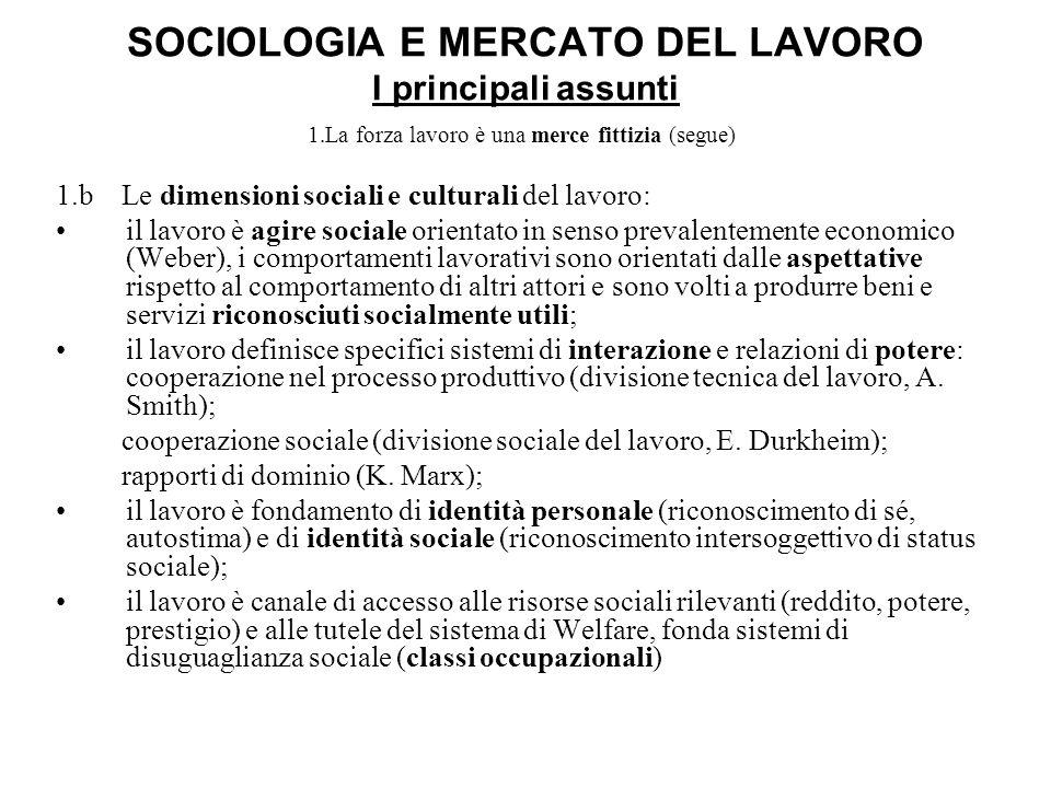 SOCIOLOGIA E MERCATO DEL LAVORO I principali assunti