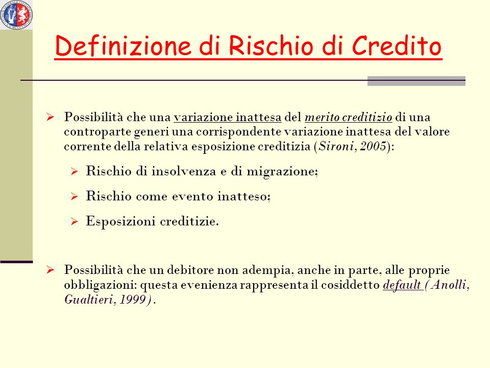 Definizione di Rischio di Credito