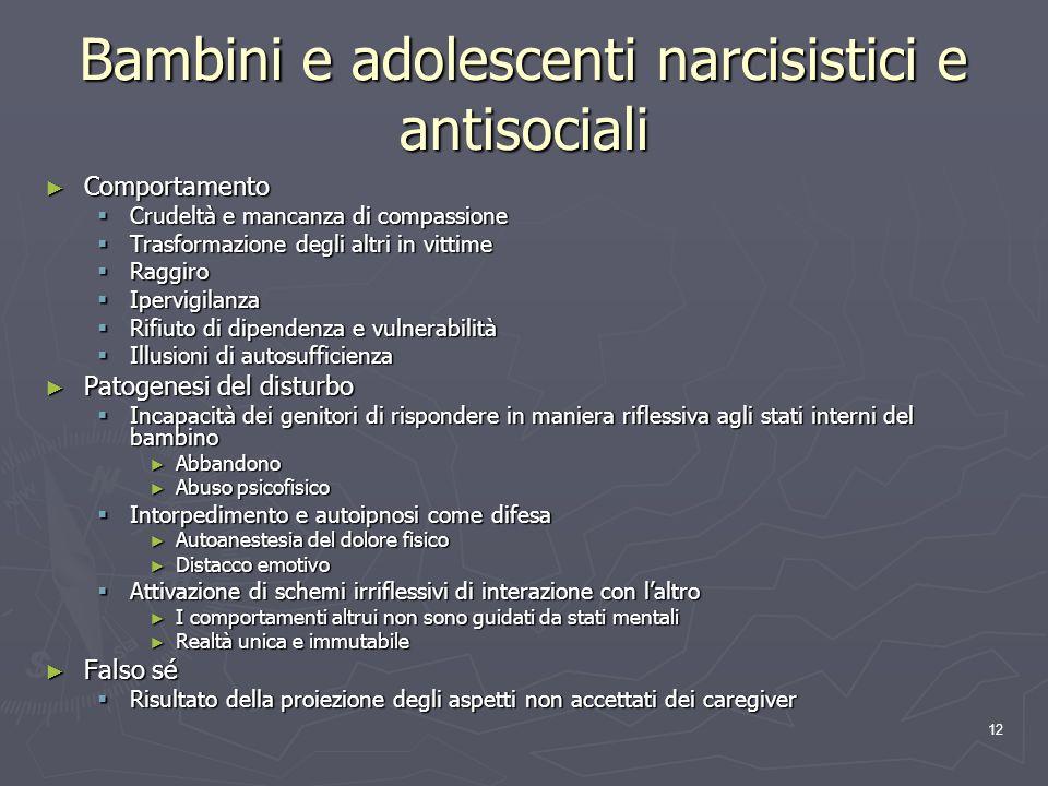 Bambini e adolescenti narcisistici e antisociali