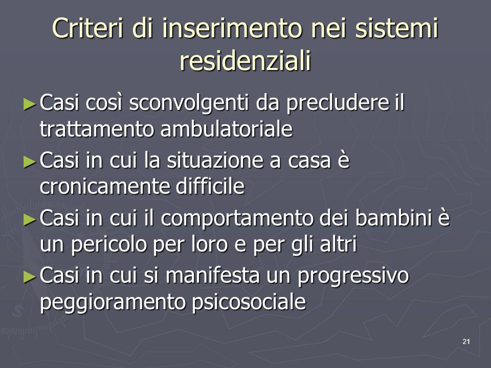 Criteri di inserimento nei sistemi residenziali