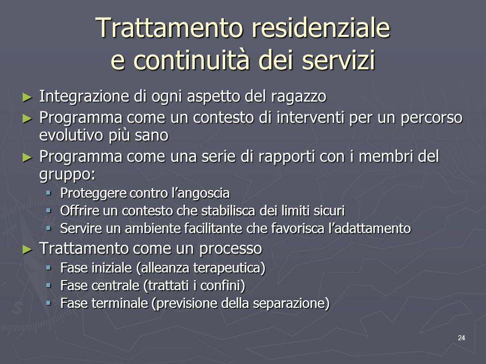 Trattamento residenziale e continuità dei servizi