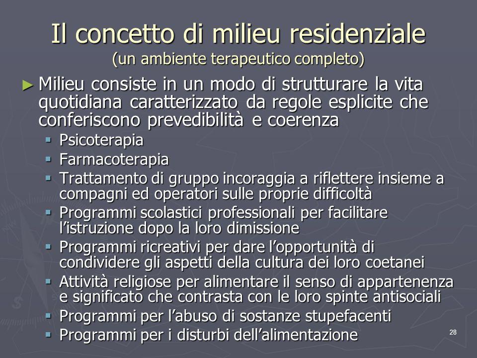 Il concetto di milieu residenziale (un ambiente terapeutico completo)