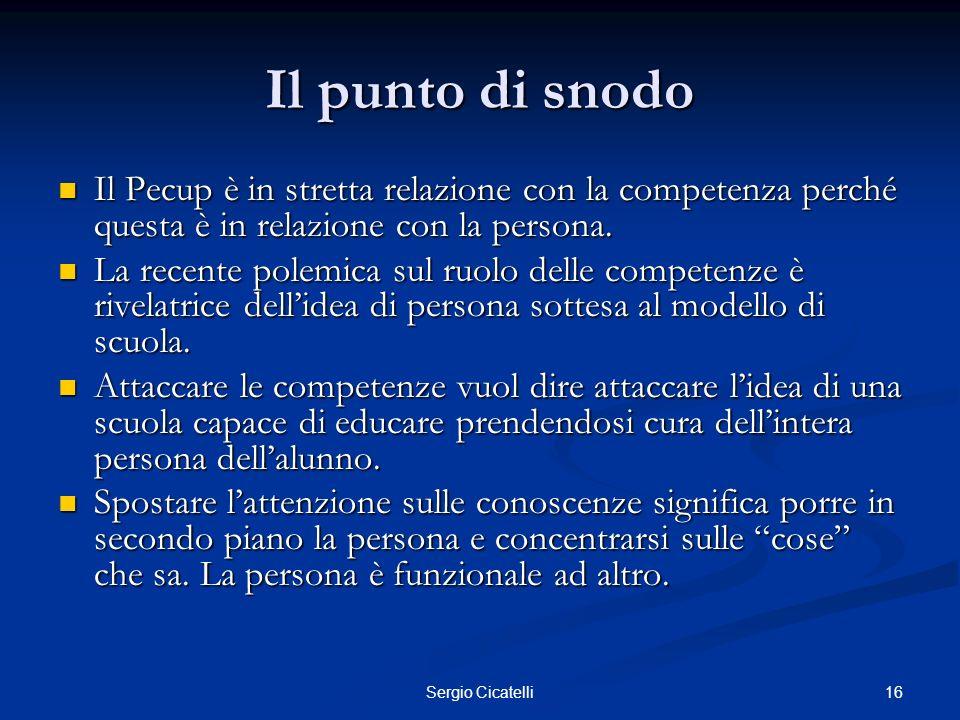 Il punto di snodo Il Pecup è in stretta relazione con la competenza perché questa è in relazione con la persona.