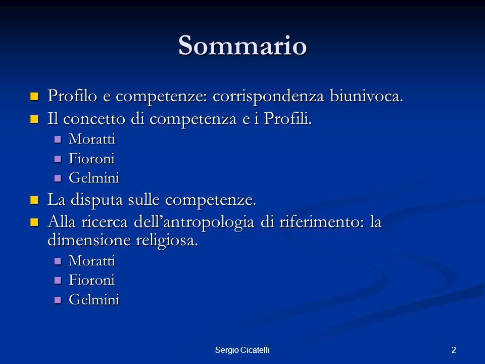 Sommario Profilo e competenze: corrispondenza biunivoca.