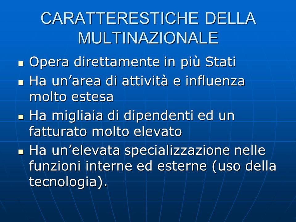 CARATTERESTICHE DELLA MULTINAZIONALE