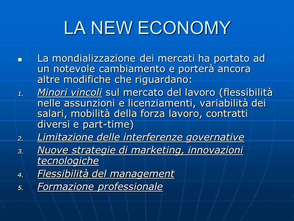 LA NEW ECONOMY La mondializzazione dei mercati ha portato ad un notevole cambiamento e porterà ancora altre modifiche che riguardano:
