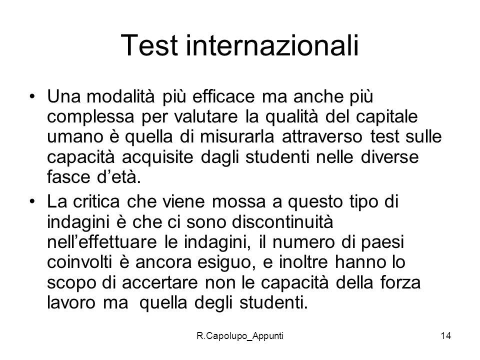 Test internazionali