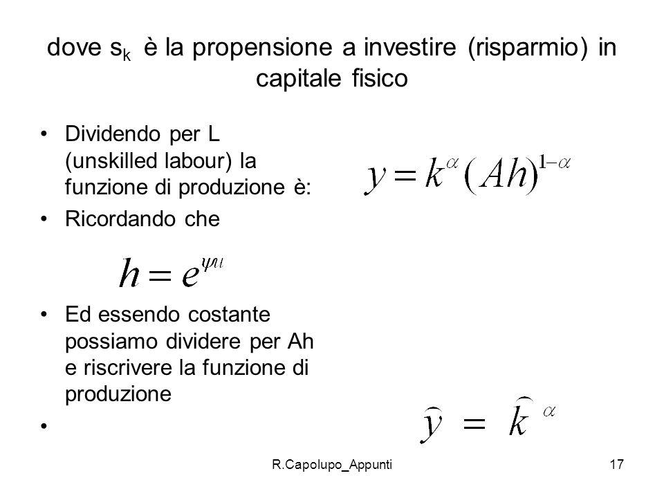 dove sk è la propensione a investire (risparmio) in capitale fisico