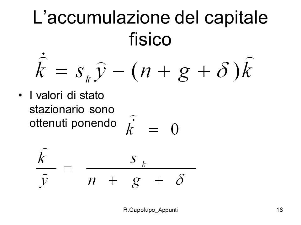 L'accumulazione del capitale fisico