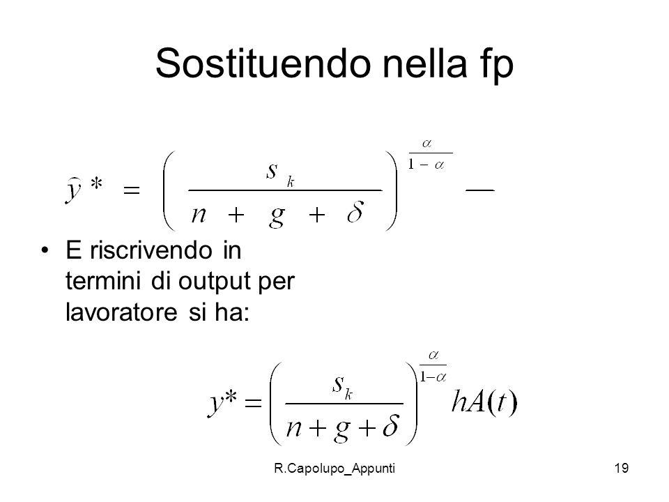 Sostituendo nella fp E riscrivendo in termini di output per lavoratore si ha: R.Capolupo_Appunti
