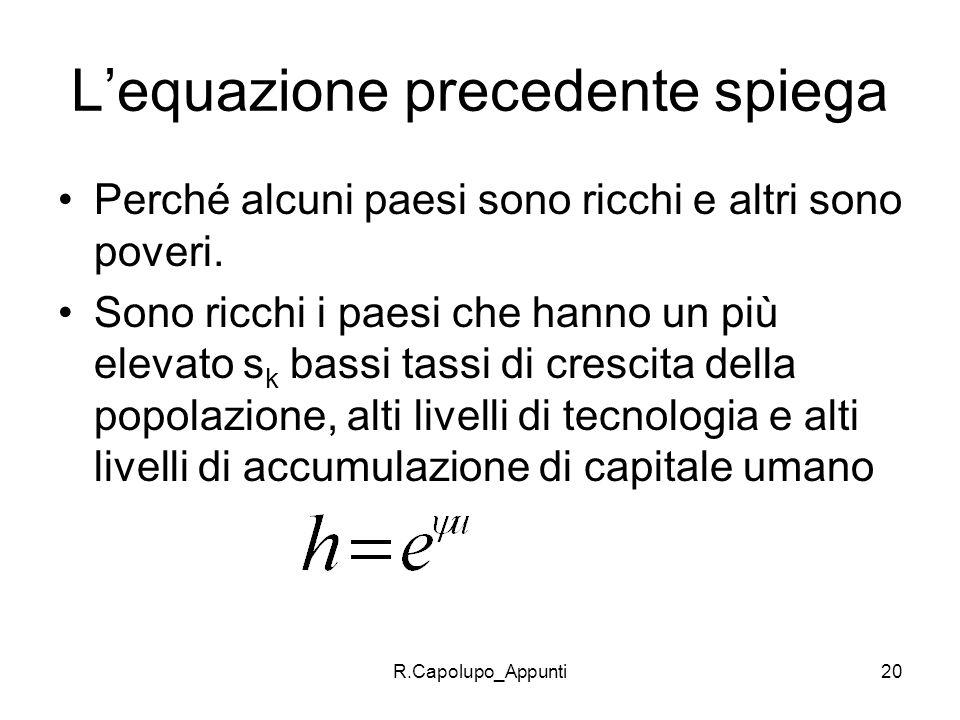 L'equazione precedente spiega