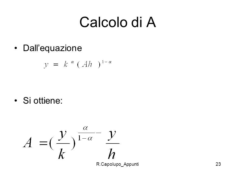 Calcolo di A Dall'equazione Si ottiene: R.Capolupo_Appunti