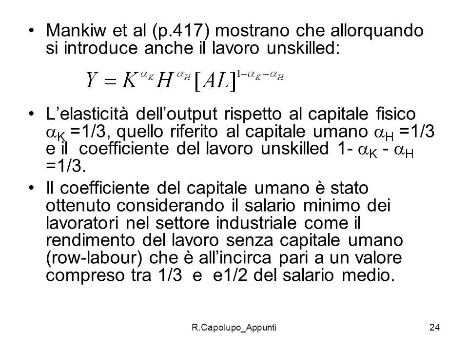 Mankiw et al (p.417) mostrano che allorquando si introduce anche il lavoro unskilled: