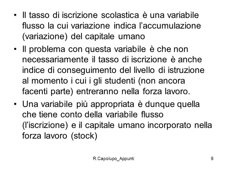 Il tasso di iscrizione scolastica è una variabile flusso la cui variazione indica l'accumulazione (variazione) del capitale umano