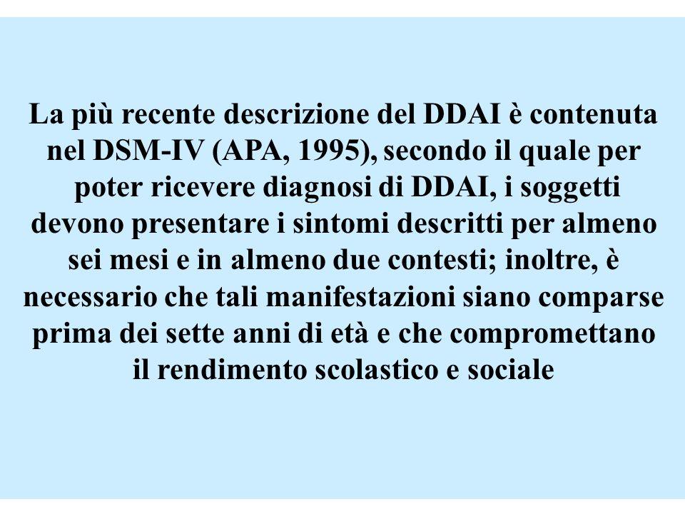 La più recente descrizione del DDAI è contenuta