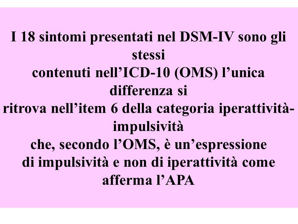 I 18 sintomi presentati nel DSM-IV sono gli stessi