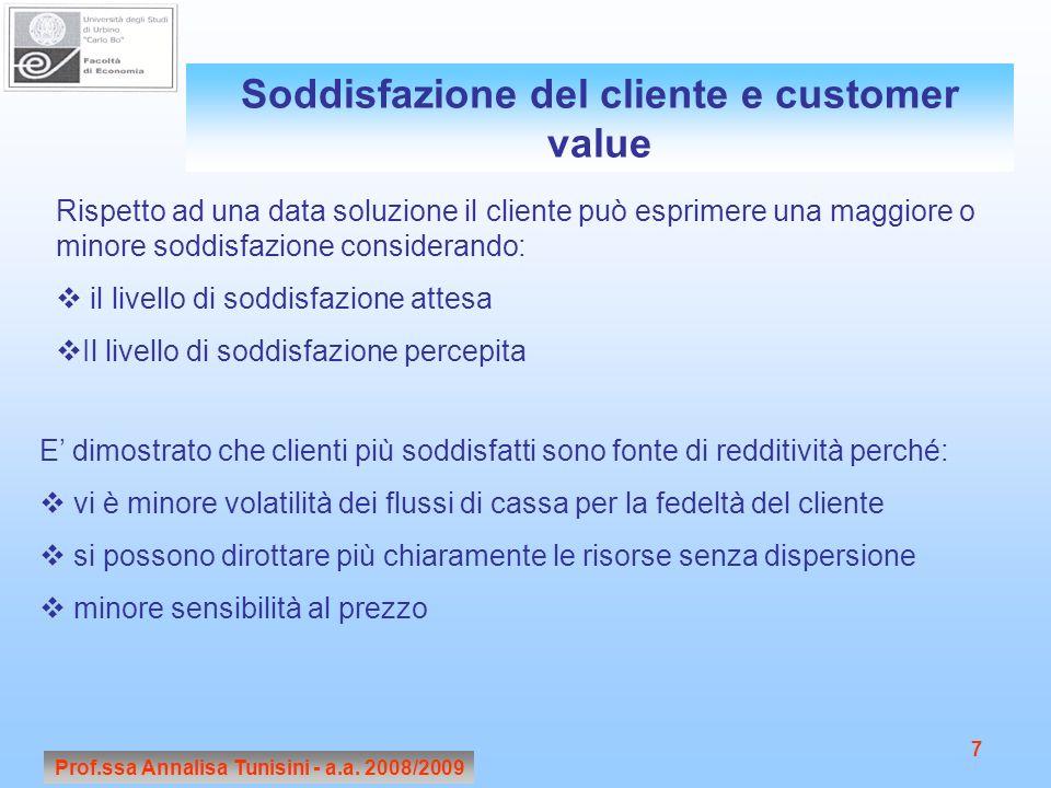Soddisfazione del cliente e customer value