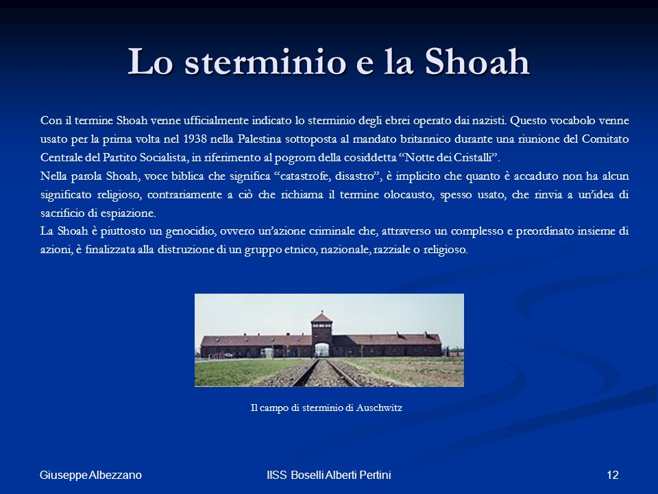 Lo sterminio e la Shoah