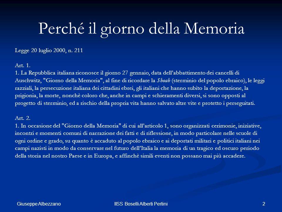 Perché il giorno della Memoria
