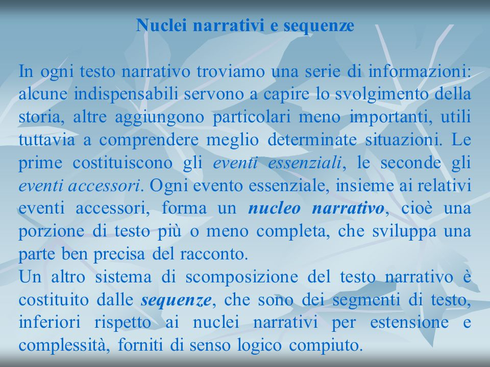 Nuclei narrativi e sequenze