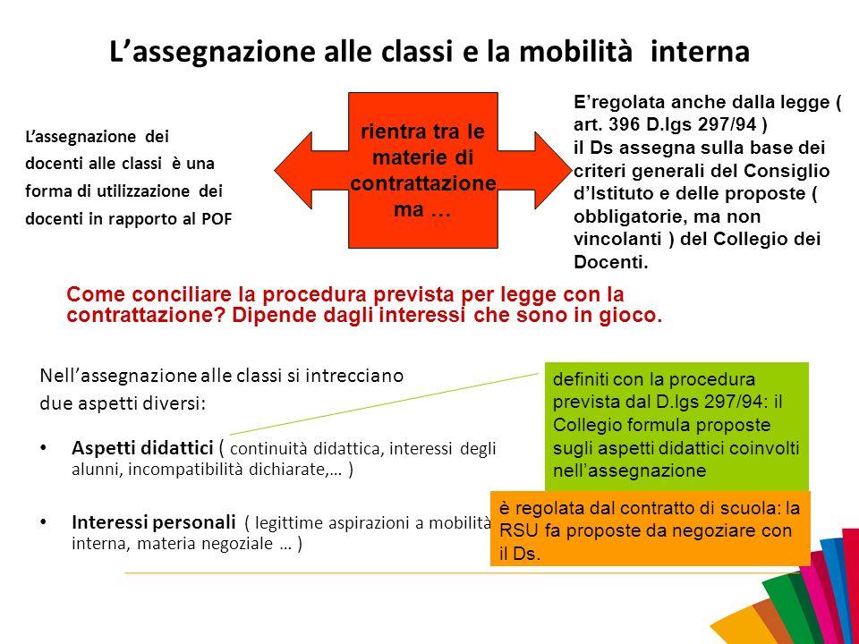 L'assegnazione alle classi e la mobilità interna