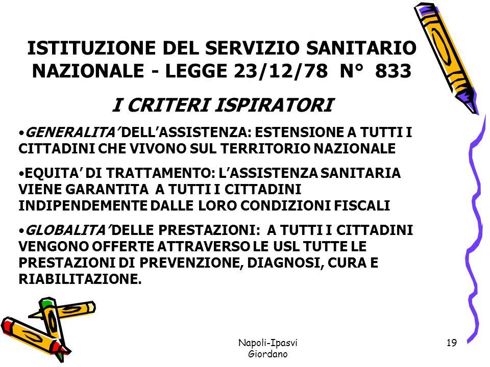 ISTITUZIONE DEL SERVIZIO SANITARIO NAZIONALE - LEGGE 23/12/78 N° 833
