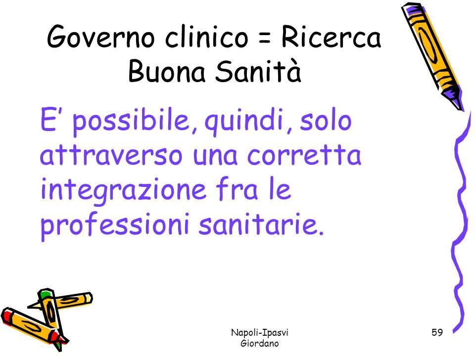Governo clinico = Ricerca Buona Sanità