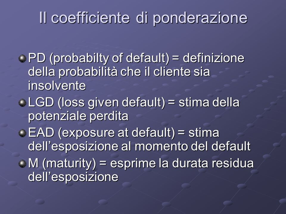 Il coefficiente di ponderazione