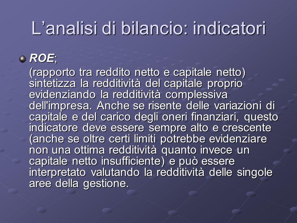L'analisi di bilancio: indicatori