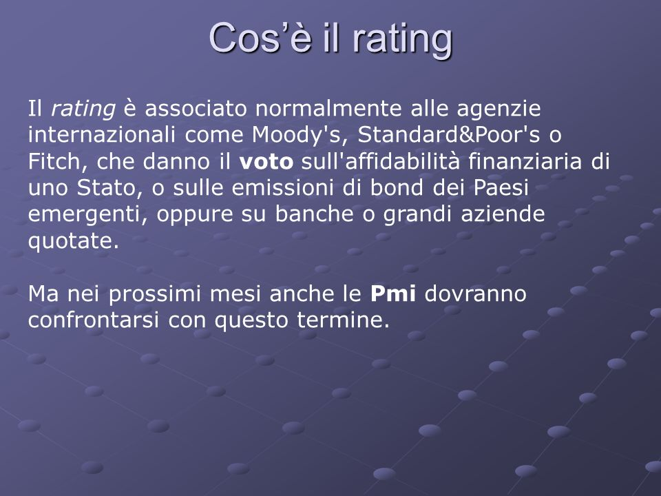 Cos'è il rating