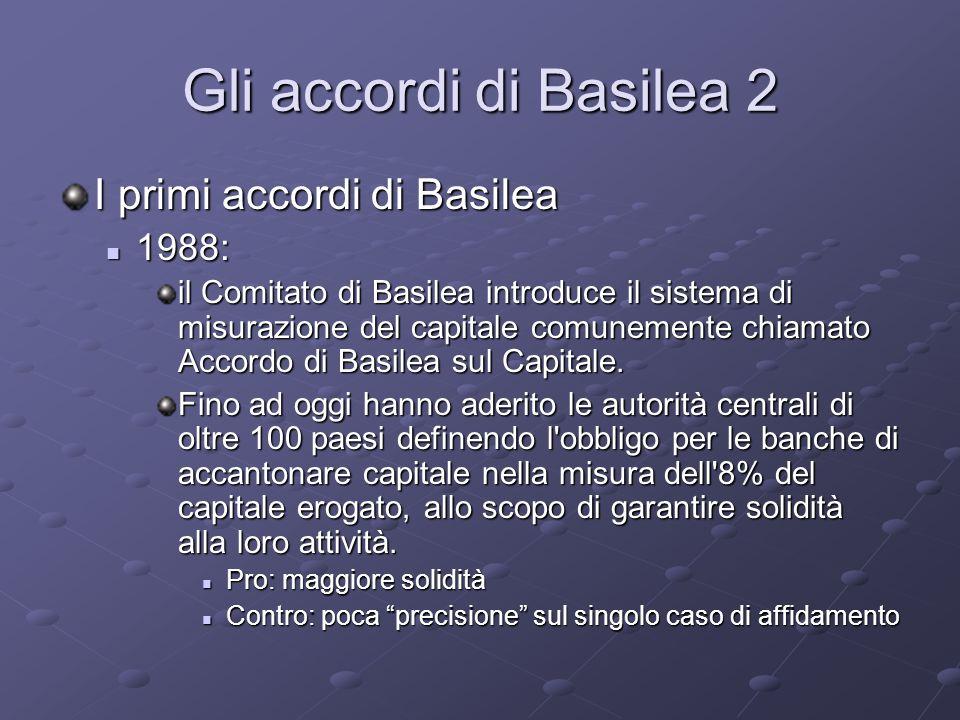 Gli accordi di Basilea 2 I primi accordi di Basilea 1988: