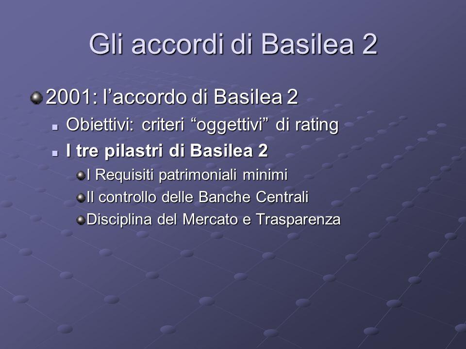 Gli accordi di Basilea 2 2001: l'accordo di Basilea 2