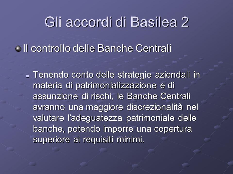 Gli accordi di Basilea 2 Il controllo delle Banche Centrali