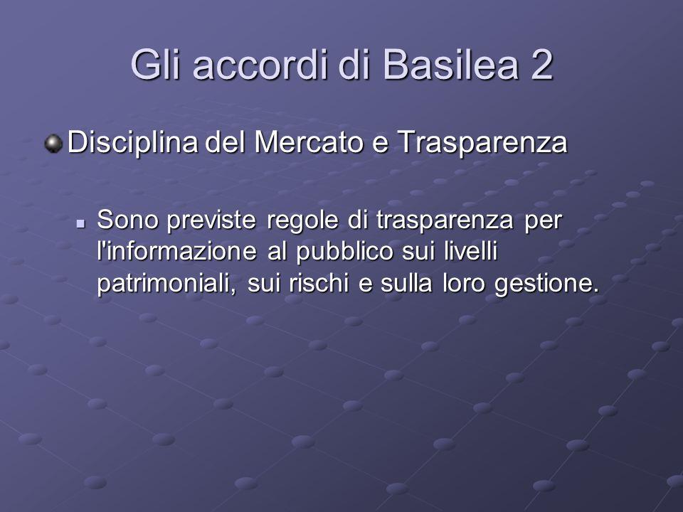 Gli accordi di Basilea 2 Disciplina del Mercato e Trasparenza