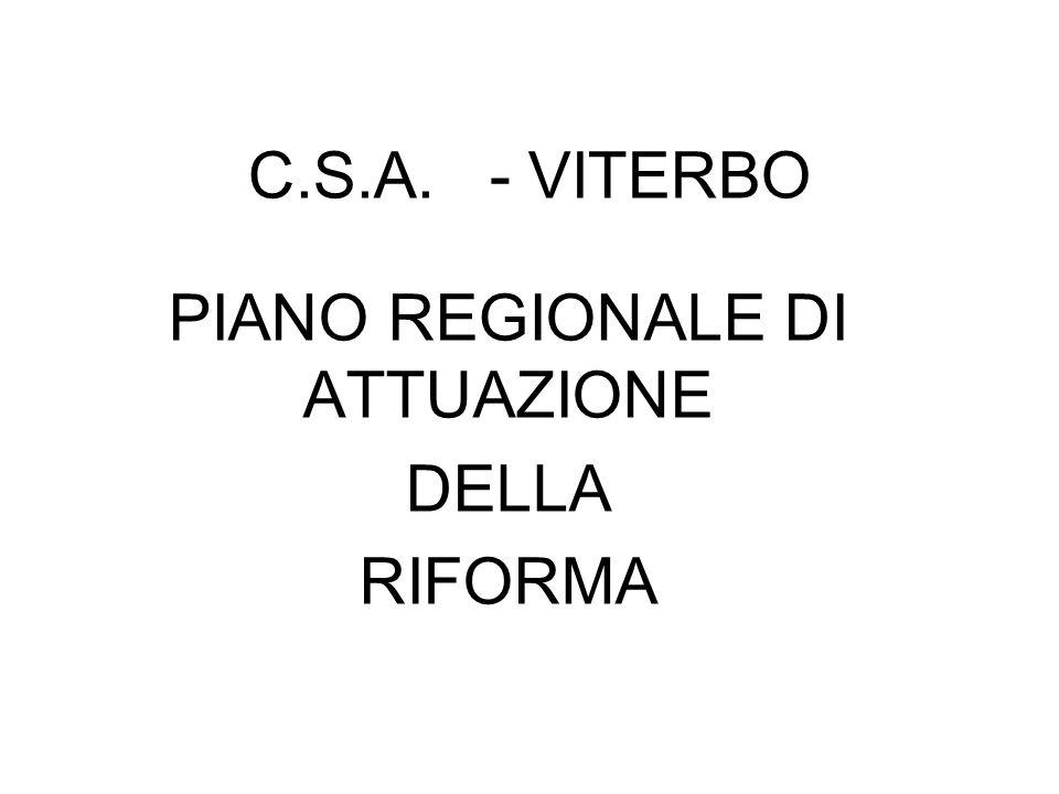 PIANO REGIONALE DI ATTUAZIONE DELLA RIFORMA