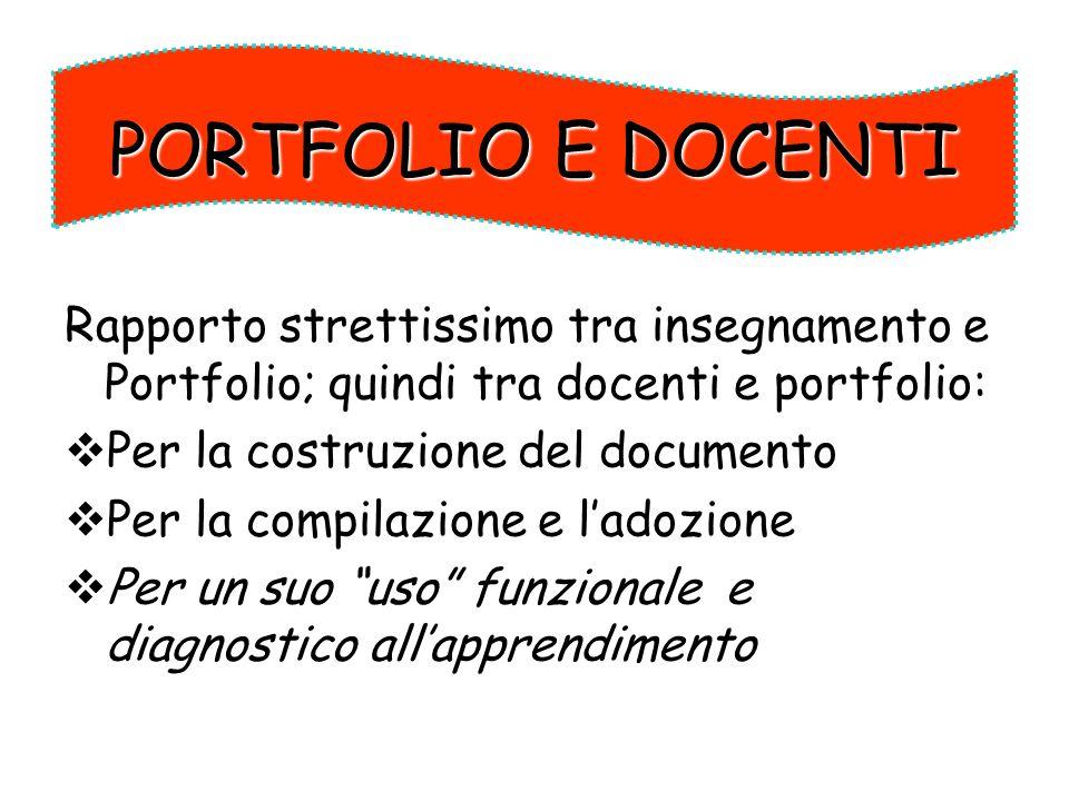 PORTFOLIO E DOCENTI Rapporto strettissimo tra insegnamento e Portfolio; quindi tra docenti e portfolio: