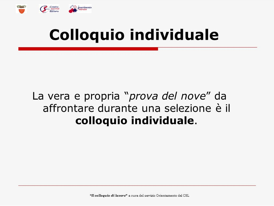 Colloquio individuale