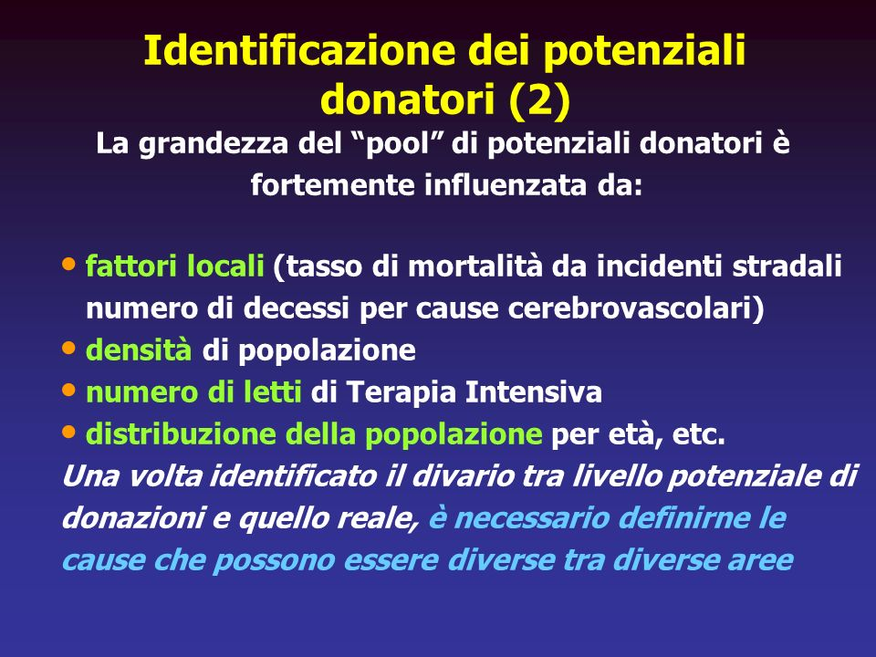 Identificazione dei potenziali donatori (2)
