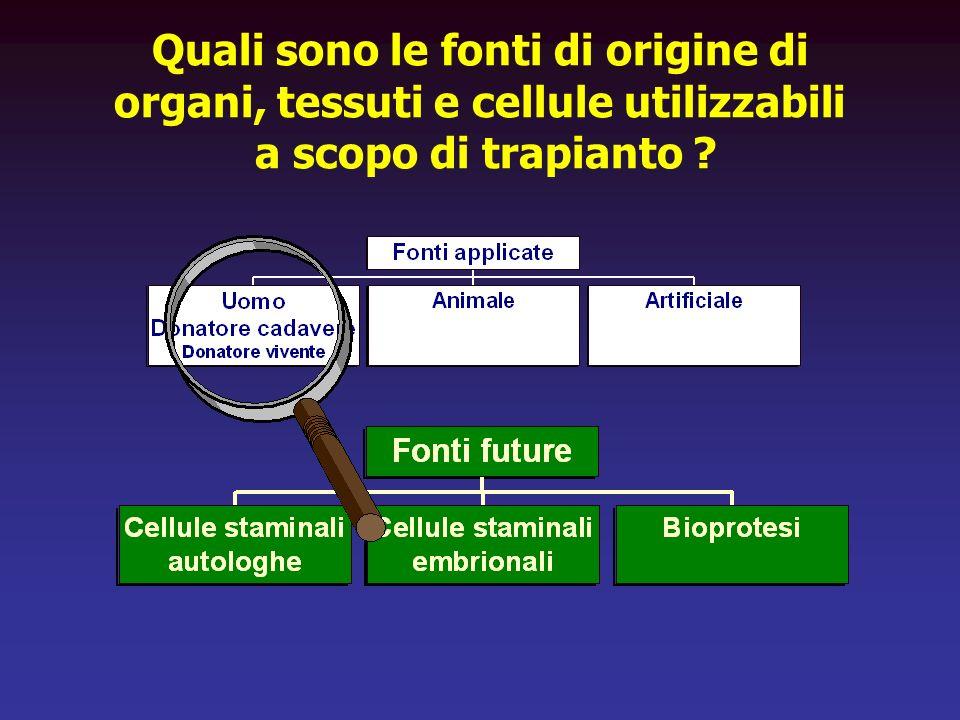 Quali sono le fonti di origine di organi, tessuti e cellule utilizzabili a scopo di trapianto