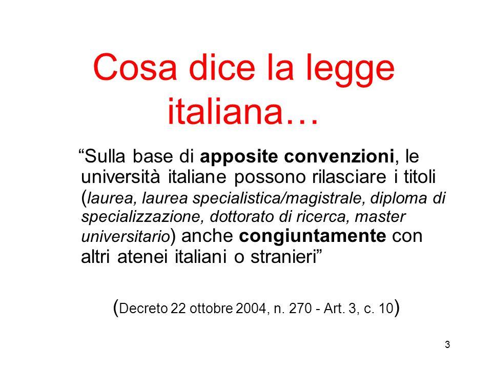 Cosa dice la legge italiana…