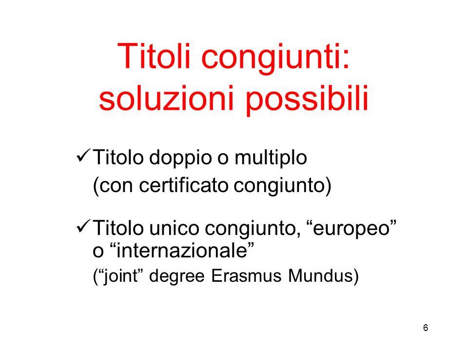Titoli congiunti: soluzioni possibili