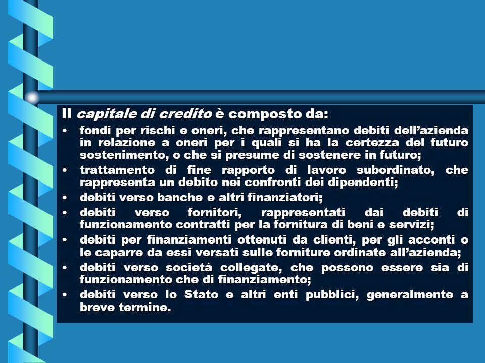 Il capitale di credito è composto da: