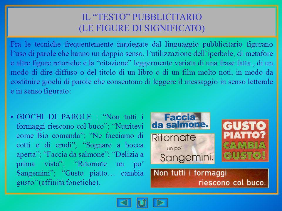 IL TESTO PUBBLICITARIO (LE FIGURE DI SIGNIFICATO)