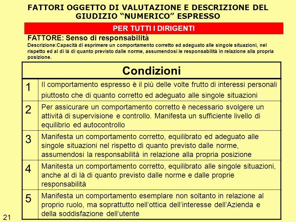 Condizioni 1 2 3 4 5 FATTORI OGGETTO DI VALUTAZIONE E DESCRIZIONE DEL