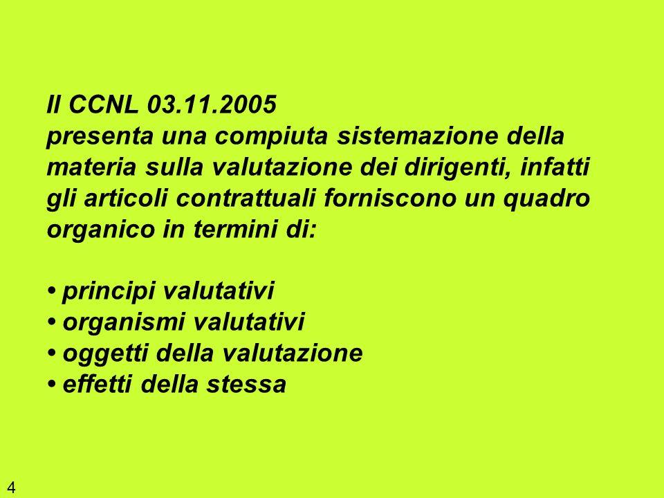 Il CCNL 03.11.2005 presenta una compiuta sistemazione della materia sulla valutazione dei dirigenti, infatti gli articoli contrattuali forniscono un quadro organico in termini di: • principi valutativi • organismi valutativi • oggetti della valutazione • effetti della stessa