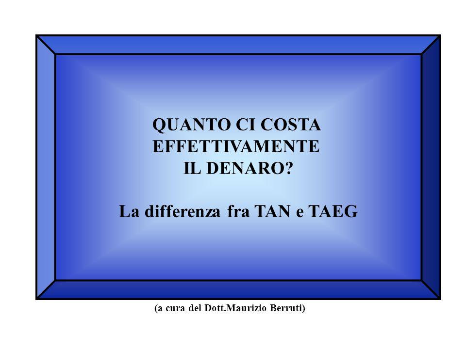 La differenza fra TAN e TAEG (a cura del Dott.Maurizio Berruti)