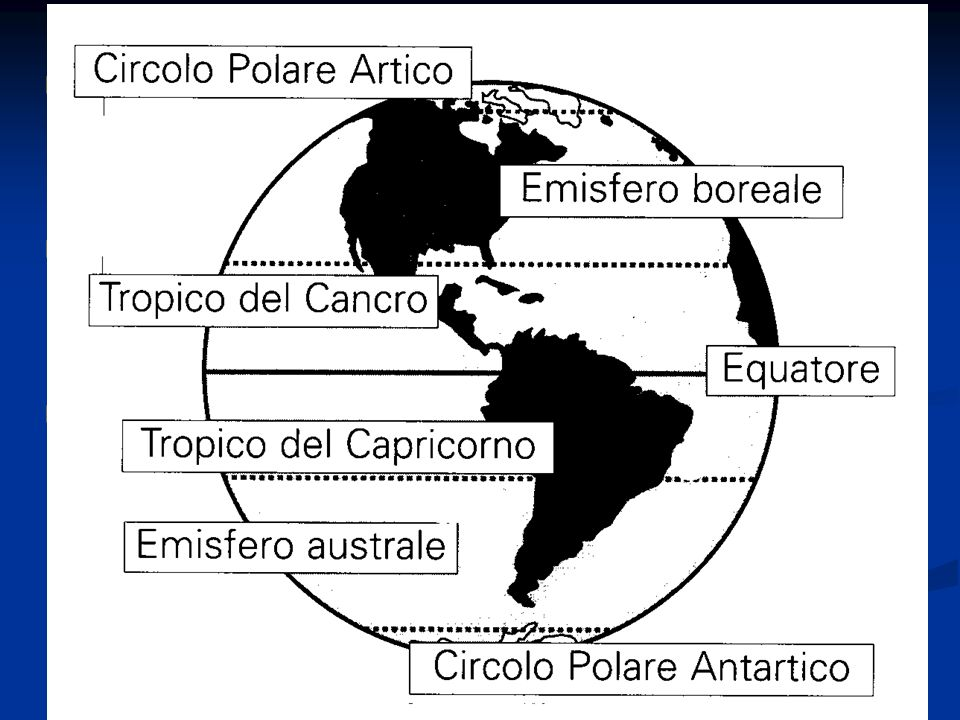 I paralleli sono circonferenze ottenute immaginando di tagliare la Terra con piani perpendicolari all asse terrestre